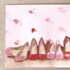 Rose Wallpaper and Shoes  Sketch by Linda Boucher