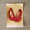 Red Mary Jane Shoes Sketch by Linda Boucher