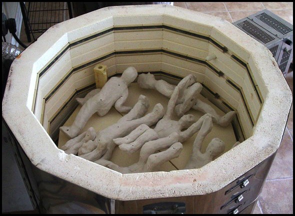 Clay Figures in Kiln