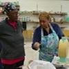 Fannie Rideout with Carolyn Washington looking on