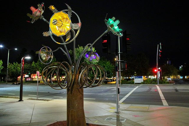 Fremont: Downtown street corner illuminated with 'Space Glow'