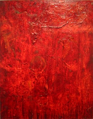 Large red acrylic & mica flake painting