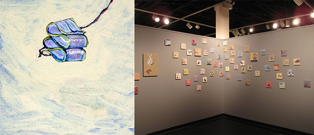 Close up and installation view of smaller work, center and right wall, New Mexico State University Art Gallery, May