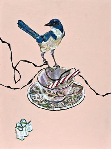 Bird with teacup