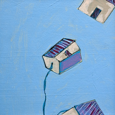 houses pulled by string on blue