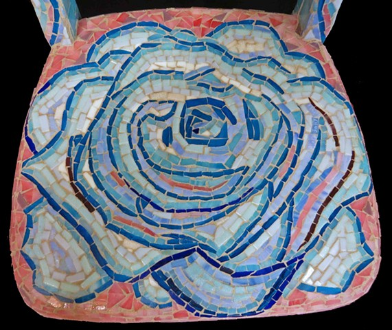 rose vine chair mosaic pink