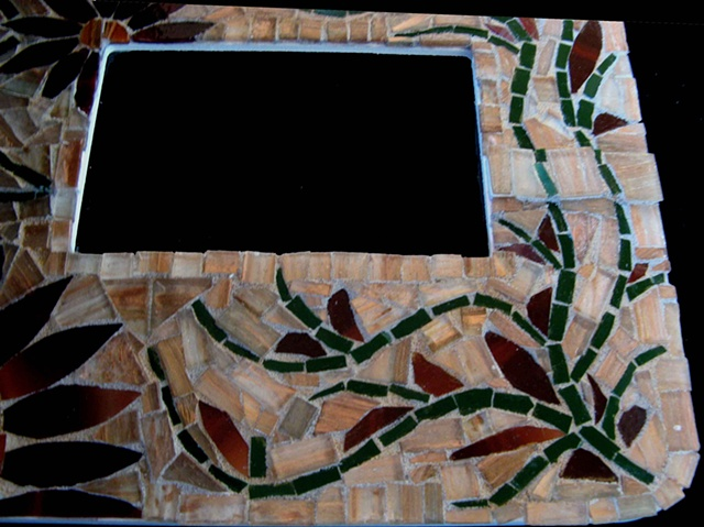 Mosaic stained glass, clematis vine, picture frame