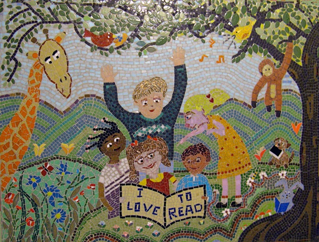 children, kids, read, reading, book, books, rabbit, tree, monkey, giraffe, bird, birds, singing, garden butterfly, bumblebee, mosaic flowers, anju jolly mosaics