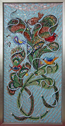 birds, pearls, mustard, tree, god, parable, blue, mosaic