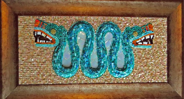 aztec, gold, smalti, double headed, serpent, turquois, British Mudeum, mosaic, historic,