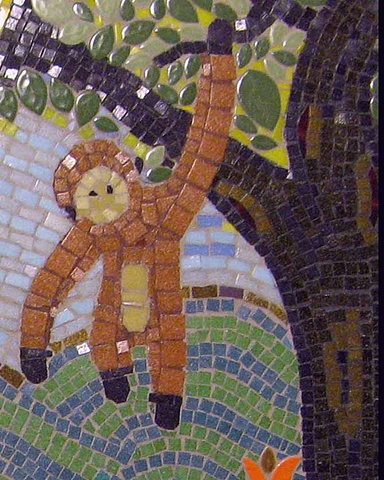 mosaic art, monkey, tree,