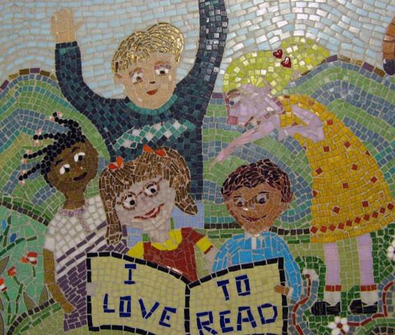 kids, children read, mosaic, anju jolly