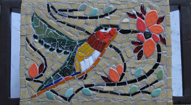 hummingbird, mosaic, leaves