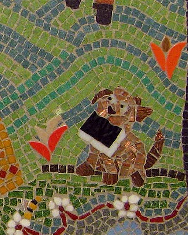 Mosaic art puppy, book, anju jolly mosaics