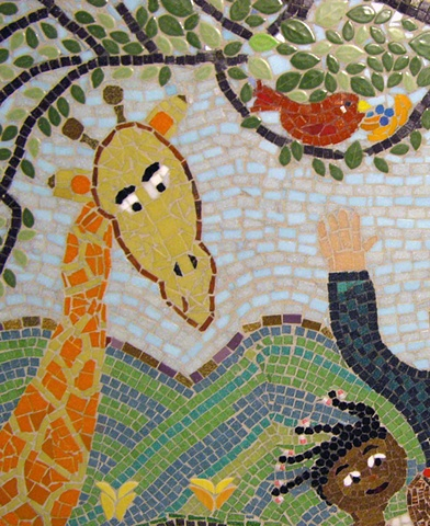 Giraffe, red bird, mosaic, anju jolly mosaics art mural