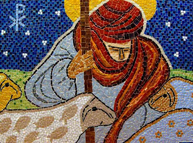 Good Shepherd looking over his sheep. The sheep represent the people of all races