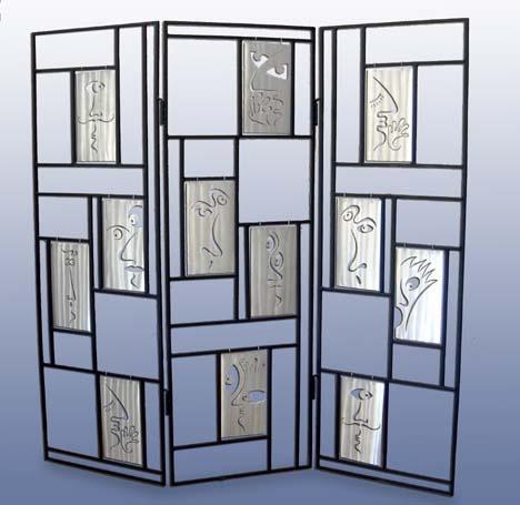 Room screen, steel, aluminum, art furniture, room divider, art work
