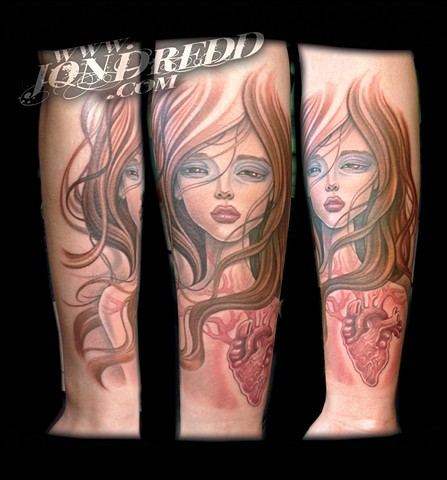 heart girl hair crucial tattoo studio salisbury maryland delaware jon dredd kellogg tattoos