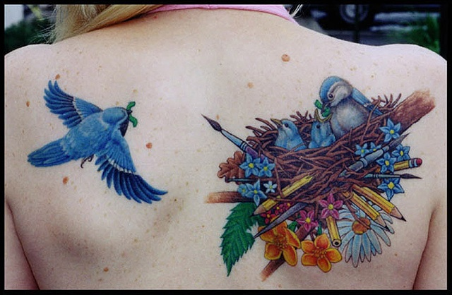 Blue birds tattoo - photo#26