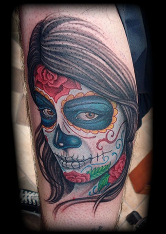 tattoo day of dead girl skull face woman roses sugar skull tattoos salisbury maryland