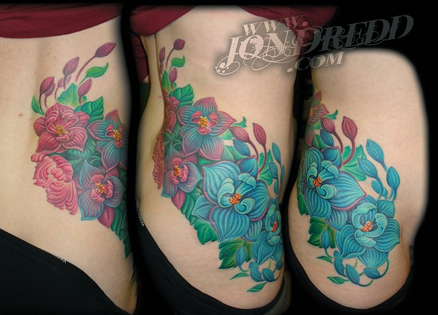 flowers hip color tattoo