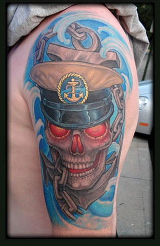 crucial tattoo studio salisbury maryland tattoos anchor skull water navy