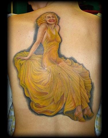 tattoo pin up girl tattoos yellow dress classic salisbury maryland