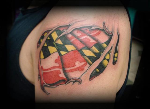 Maryland Flag Tattoo Designs