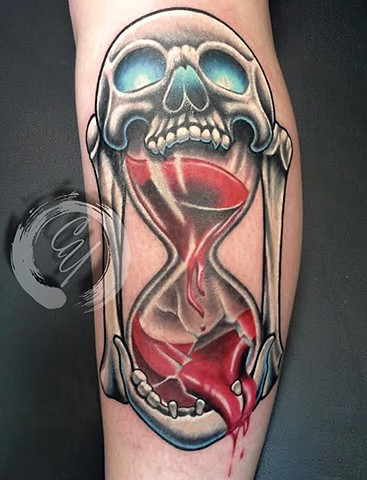 cyrus high tattooer crucial tattoo studio ocean city maryland delaware virginia best tattoos skull hourglass color