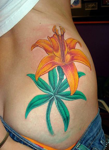 tattoo star flower hip girl lilly color tattoos salisbury maryland