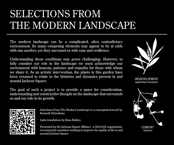 Selections From The Modern Landscape (Jackson Square)  Installation Shot Entrance signage