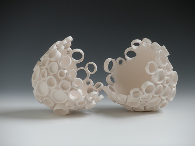 orcelain Ceramic Art.  Wheel Thrown, Hand-built, Vases and Vessels for light and home installation.  Katherine Dube; Dube Ceramic Art and Design 2010