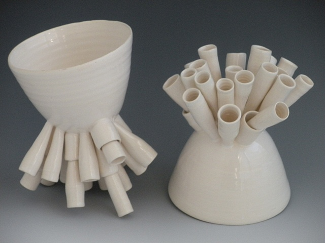 katherine dube, ceramic fine art, porcelain, cloud nine, vases, vessels, organic, science, pottery, ceramics, contemporary, modern, white