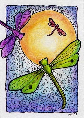 dragonfly dragonflies sun spiral green purple red sky flight flying