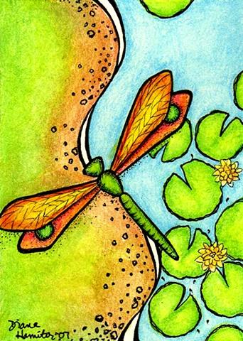 dragonfly lilypad pond flower bank green blue orange flight flying whimsy whimsical
