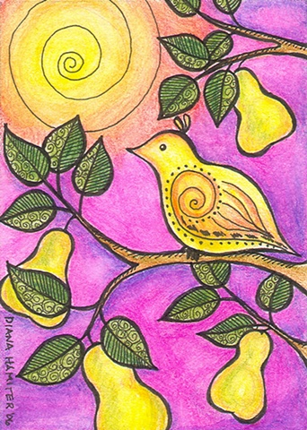 bird first day of Christmas partridge pear tree magenta yellow golden