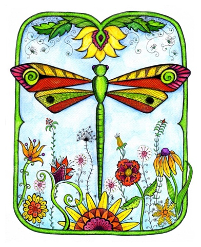 dragonfly flower garden dance orange yellow blue green growth whimsy whimsical