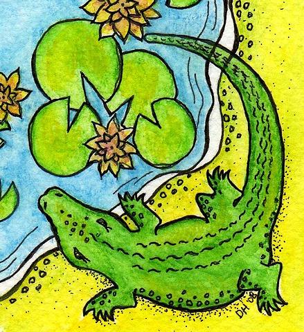 alligator swamp lilypads water green gator mascot