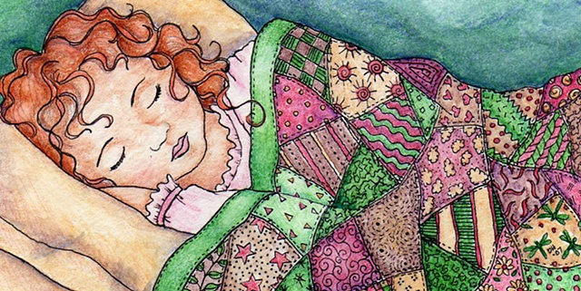 sleeping girl quilt patchwork asleep redhead red head quilted child night