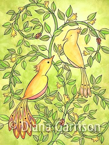 birds, lovebirds, whimsical, green