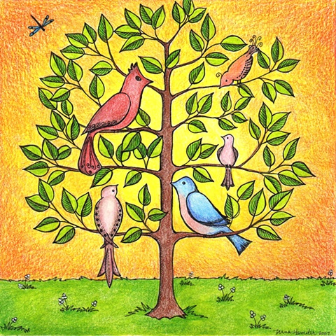 gathering tree birds flock cardinal dove bluebird dragonfly orange