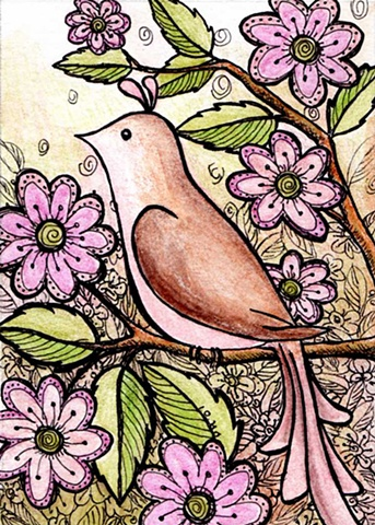 bird brown pink flowers green tree sweet whimsical whimsy