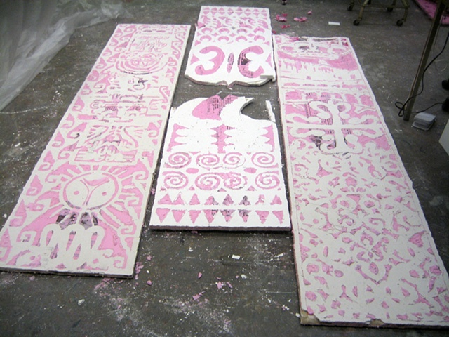 The molds casted in plaster