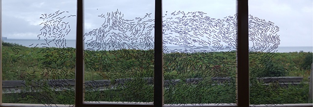 Untitled (digital panorama of window installation) Cape Jourimain Nature Centre, Bayfield, New Brunswick