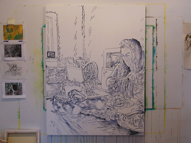Portrait of the Artist Paula Jean Cowan - in progress