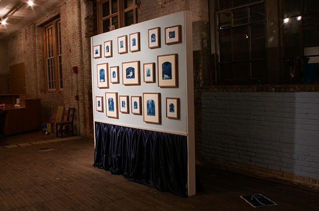 "Cyanotype Prints and velveteen from the 2008 ""dayton.edu"" exhibition."