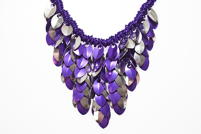 Purple & Silver scales necklace