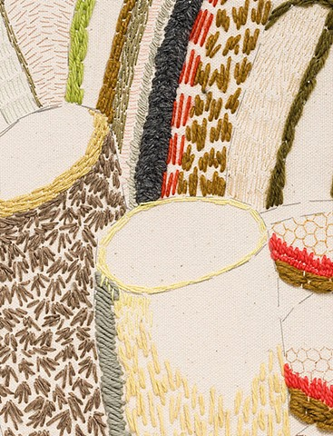 detail:  Dishes (sewn study no. 5)