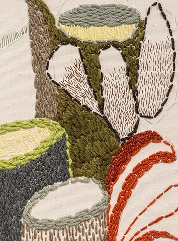 detail: Dishes (sewn study no. 3)