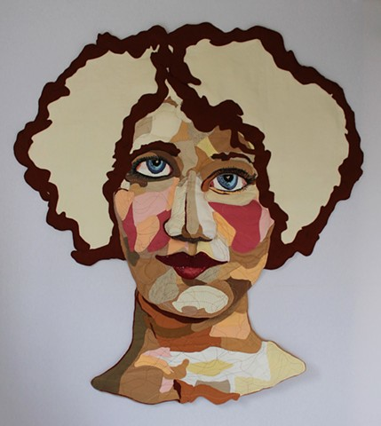 Portrait/San Francisco/Fiber/Felt/Embroidery/Quilt/Story/Wall Relief